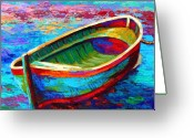 Rowboat Greeting Cards - Riviera Boat I Greeting Card by Marion Rose