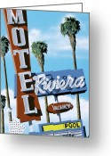 Los Angeles Painting Greeting Cards - Riviera Motel Greeting Card by Anthony Ross