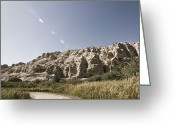 Arid Country Greeting Cards - Road Amidst Rocky Landscape Greeting Card by Sam Bloomberg-rissman