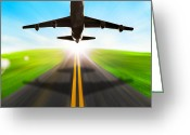 Touchdown Greeting Cards - Road And Plane Greeting Card by Setsiri Silapasuwanchai