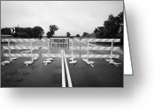 Flooding Photo Greeting Cards - Road Closed And Highway Barrier Due To Flooding Iowa Usa United States Of America Greeting Card by Joe Fox