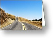 Yellow Line Greeting Cards - Road Greeting Card by Geri Lavrov