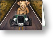 Snout Greeting Cards - Road Hog Greeting Card by Leah Saulnier The Painting Maniac