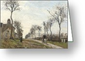 Autumn In The Country Painting Greeting Cards - Road in Louveciennes Greeting Card by Camille Pissarro