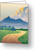 Rural Road Greeting Cards - Road Leading to Mountains Greeting Card by Aloysius Patrimonio