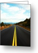 Double Yellow Line Greeting Cards - Road Looking To Bar Harbor, Maine Greeting Card by Thomas Northcut