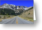 Snowcapped Greeting Cards - Road Marking On Road Greeting Card by David Toussaint - Photographersnature.com