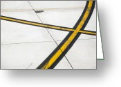 Double Yellow Line Greeting Cards - Road Markings On An Airplane Runway Greeting Card by Tobias Titz