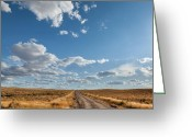 West Greeting Cards - Road Near Ten Sleep Wyoming Greeting Card by Steve Gadomski