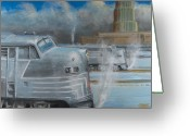 Trains Painting Greeting Cards - Road Power at Buffalo Greeting Card by Christopher Jenkins