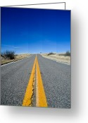 Asphalt Digital Art Greeting Cards - Road Through Sulphur Flats Greeting Card by Jim DeLillo