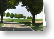 Tree Allee Greeting Cards - Road to Bibertal I Greeting Card by Nafets Nuarb