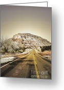 Winter Photos Greeting Cards - Road to Jemez Greeting Card by Andrea Hazel Ihlefeld