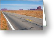 Yellow Line Greeting Cards - Road To Monument Valley Greeting Card by Asier