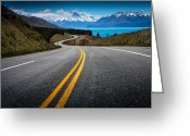 Yellow Line Greeting Cards - Road To Mt Cook Greeting Card by NitiChuysakul Photography