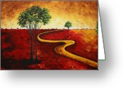 Leaf Painting Greeting Cards - Road to Nowhere 2 by MADART Greeting Card by Megan Duncanson