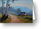 Signed Greeting Cards - Road to the Farm Greeting Card by Graham Gercken