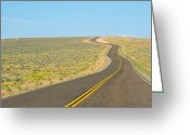 Yellow Line Greeting Cards - Road To The Horizon Greeting Card by Asier