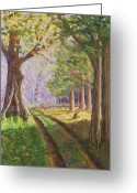 Woods Pastels Greeting Cards - Road to the River Greeting Card by James Geddes