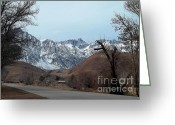 Winter Road Greeting Cards - Road To The Top - Mount Whitney Greeting Card by Glenn McCarthy Art and Photography