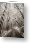 Connecticut Winter Scene Greeting Cards - Road to Winter Greeting Card by Karol  Livote