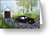 Transportation Tapestries - Textiles Greeting Cards - Road trip Greeting Card by Charlene White