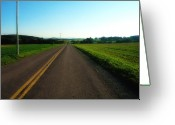 Yellow Line Digital Art Greeting Cards - Road Weary Greeting Card by Ross Powell