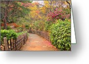 Fence Greeting Cards - Road With Fence Greeting Card by ~~**Yuri