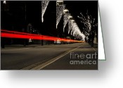 Long Street Greeting Cards - Road with lights Greeting Card by Mats Silvan