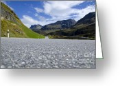 Long Street Greeting Cards - Road with mountain Greeting Card by Mats Silvan
