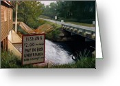 Old Country Roads Painting Greeting Cards - Roadside Fishing Spot Greeting Card by Doug Strickland