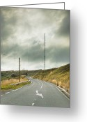 Broadcast Antenna Greeting Cards - Roadway Passing Radio Tower Greeting Card by Jon Boyes