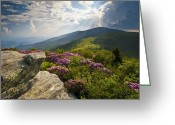 Appalachian Trail Greeting Cards - Roan Mountain from Appalachian Trail near Janes Bald Greeting Card by Dave Allen