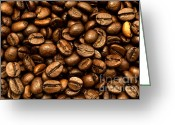 Coffee Beans Greeting Cards - Roasted coffee beans Greeting Card by Fabrizio Troiani