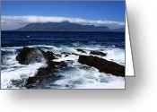 African Mountain Greeting Cards - Robben Island View Greeting Card by Aidan Moran