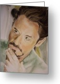 Ironman Painting Greeting Cards - Robert Downey Jr Iron Man Greeting Card by Angela Schwengler