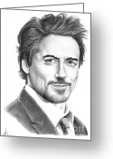 Ironman Greeting Cards - Robert Downey Jr. Greeting Card by Murphy Elliott