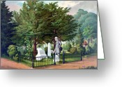 Rebel Greeting Cards - Robert E. Lee Visits Stonewall Jacksons Grave Greeting Card by War Is Hell Store