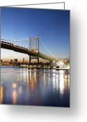 Harlem River Greeting Cards - Robert F Kennedy (rfk) Bridge At Sunset Greeting Card by John Cardasis