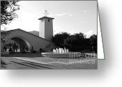 Walk Way Photo Greeting Cards - Robert Mondavi Napa Valley Winery . Black and White . 7D9029 Greeting Card by Wingsdomain Art and Photography