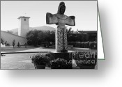 Walk Way Photo Greeting Cards - Robert Mondavi Napa Valley Winery . Black and White . 7D9046 Greeting Card by Wingsdomain Art and Photography