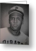 Clemente Greeting Cards - Roberto Clemente Greeting Card by Christian Garcia