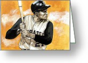 Roberto Clemente Drawings Greeting Cards - Roberto Clemente Greeting Card by Dave Olsen