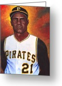 Clemente Greeting Cards - Roberto Clemente Greeting Card by Steve Benton