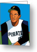 Baseball Hall Of Fame Greeting Cards - Roberto Greeting Card by Ron Magnes