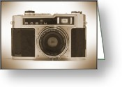 Black White Greeting Cards - Robin 35mm Rangefinder Camera Greeting Card by Mike McGlothlen