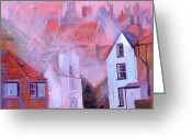 Pink Greeting Cards - Robin Hoods Bay Dock Greeting Card by Neil McBride
