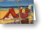 Beach Umbrella Painting Greeting Cards - Robin in her zone Greeting Card by Laura Lee Zanghetti