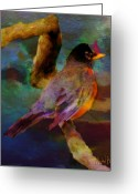 Cheekwood Botanical Gardens Greeting Cards - Robin On A Limb Greeting Card by Michael Brown