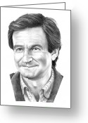 Famous People Drawings Greeting Cards - Robin Williams Greeting Card by Murphy Elliott